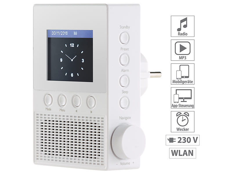 VR-Radio Steckdosen-Internetradio IRS-300 mit WLAN, 6,1-cm ...