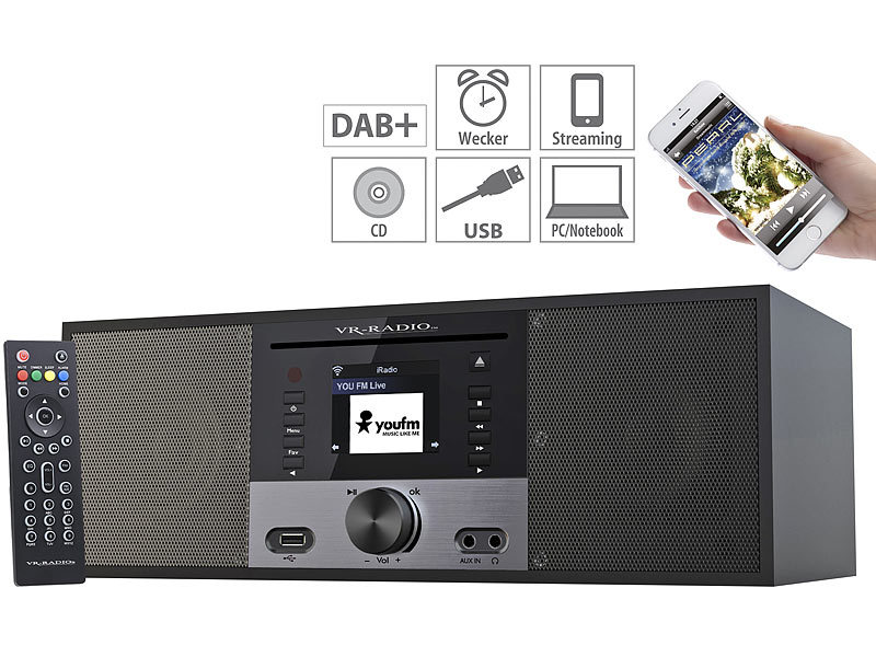 vr radio stereo internetradio m cd player dab fm farbdisplay wecker 32 w. Black Bedroom Furniture Sets. Home Design Ideas