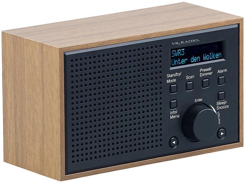 vr radio digitales dab fm radio mit wecker lcd display holzdesign 4 watt. Black Bedroom Furniture Sets. Home Design Ideas